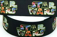 "7/8"" 2 YARDS Star Wars Grosgrain Ribbon Gift Bows Cards Crafts Scrapbk Lanyards"