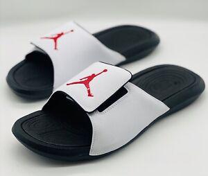 NEW Air Jordan Hydro 6 Slides Sandals White Red 881473-101 Men's Size 11