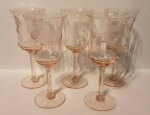 """Vintage 5 Pink Depression Glass Etched Floral Stemware 5.5"""""""