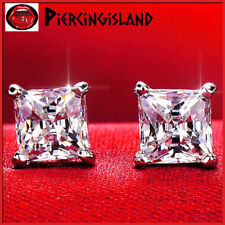 STERLING SILVER MENS LADIES KIDS SQUARE SIGNITY DIAMOND SOLID STUD EARRINGS GIFT