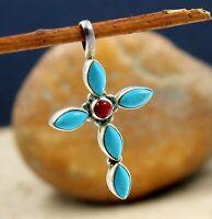 925 Sterling Silver Jewelry Turquoise Carnelian Gemstone Daily Wear Gift Pendant