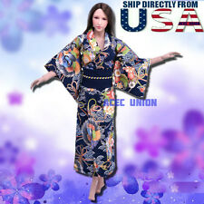"1/6 Women Kimono Dress NAVY For 12"" Phicen Hot Toys Female Figure U.S.A. SELLER"