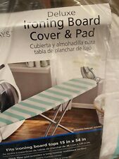 """Mainstays Deluxe Ironing Board Cover & Pad Fits Board Tops 15"""" × 54"""", Brand New"""