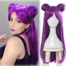 LOL League of Legends KDA Kaisa Cosplay Wigs Purple Long Straight Buns Full Wig