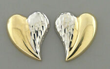 VINTAGE 14K TWO TONE GOLD LADIES HEART EARRINGS