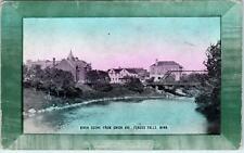 FERGUS FALLS,  MN Minnesota   RIVER SCENE from UNION Avenue  1913    Postcard