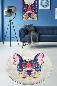 Non-slip Circle Rugs living room 100cm Round Mat Washable kitchen Animal Print U