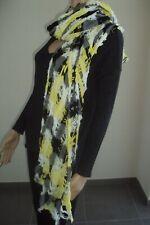 grand long foulard rectangle gris/jaune fluo ZARA ACCESSORIES - bon état