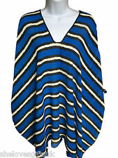 Ladies Women Beach Bikini Swimwear Striped BLUE Cover Up Kaftan ONE SIZE