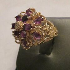 Vintage 14K Gold Diamond & Amethyst Ring TCW=4.07 Carats 23 MM Wide  Size 6