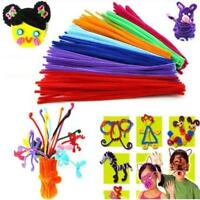 "100P Chenille Craft Stems Pipe Cleaners 30cm (12"")Long,6mm Wide Child Crafts"