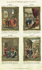 "Bankes' Christian Bible ""PETER & JOHN IMPRISONED"" etc - Hand-Col. Eng. -c1760"