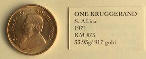 1oz gold Kruggerand, 1971. Superb Condition.