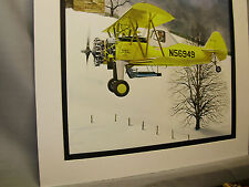 Swathmaster Stearman Biplane 1976  Exhibit Color art illustrated Barnstormers