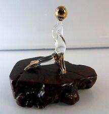 Vintage Glass Seal balancing ball Figurine burlwood base