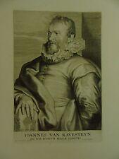 """Künstler/-Atelierszene: Kupferstich nach A. van Dyck """"Ioannes van Ravesteyn"""""""