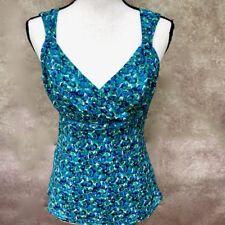 Blue Green Silk Cotton Dressy Floral Blouse Top ANN TAYLOR Size 10 Empire Waist