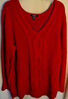 Chaps by Ralph Lauren Red Sweater Womens Plus Size 2x V-Neck Pullover New