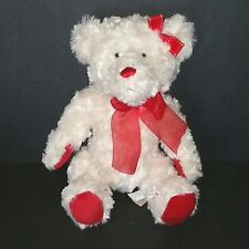 Dan Dee White Teddy Bear Soft Fuzzy 11in Plush Red Paw Pads Nose Bows 2009