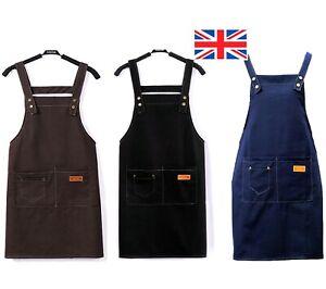 UK Women Denim Style Cooking Kitchen Restaurant Work Bib Apron Dress Pockets