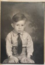 Vintage Photograph Photo Booth Arcade Image Little Boy Poses 1940s
