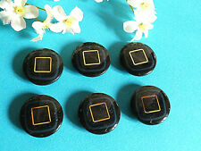 """1171/Chequerboard Buttons """" Square Gold """" Blue Night And Golden Lot 6 Ép. 1970"""