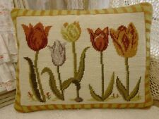 "16"" Wonderful Tulip Buds Bunch Various Colors Hand Woven Needlepoint Pillow"