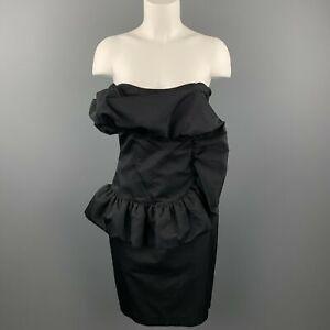 GIAMBATTISTA VALLI Size 8 Black Cotton / Silk Ruffled Strapless Dress