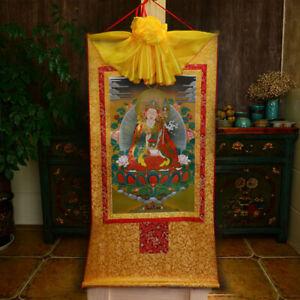 Tibet TibetanBuddha Print Silk Gild Thangka Thanka Guru Padmasambhava Buddha莲花生8