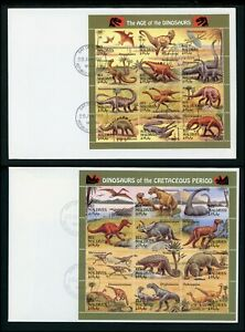 Maldive Islands Scott #1969-1970 FIRST DAY COVERS SHEETS Dinosaurs $$ TH-1