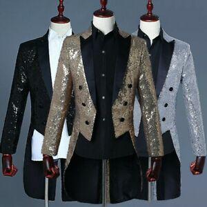 Mens Shiny Sequin Jacket Tuxedo Tailcoat Wedding Prom Suit Magician Showman