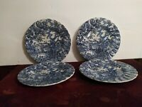 Vintage 'The Hunter' By Myott Hand Engraved Set 4 Bread Plates Made in England