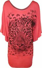 New Ladies Animal Sequin ¾ Batwing Sleeve Baggy Tops 14-28