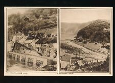 Devon LYNMOUTH Mars Hill & General bi-view c1920/30s? PPC by photochrom