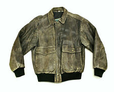 vtg Aeropostale Distressed A-2 Leather Flight Jacket ~ Small 38 Grey Bomber