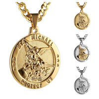 Saint Michael Archangel Catholic Patron Stainless Steel Pendant Chain Necklace