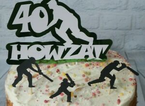 Cricket Cake Topper Howzat with 3 additional outfield players Handmade