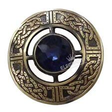 "Scottish Kilt Fly Plaid Brooch Blue Stone Antique Finish 3"""