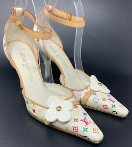 Auth LOUIS VUITTON Bron Monogram Sandals Heels #37 US 7 White Multicolor Rank AB