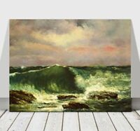 GUSTAVE COURBET - Waves - CANVAS ART PRINT POSTER - Ocean Sea - 12x8""