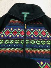 Ralph Lauren Black Colorful Design Rainbow Fleece Jacket Women's Size Small