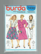 BURDA pattern 7490 suit jacket fullskirt top SZ 8 10 12 14 16 VINTAGE 80s uncut