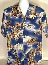 Hawaiian Shirt Blue Ukelele Outrigger Aloha Mens Sz Large Flowers Hilo Hattie
