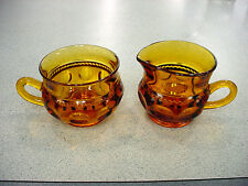 vTg 1963-67 FENTON COLONIAL AMBER GLASS GOLD THUMBPRINT CREAMER & SUGAR Retro