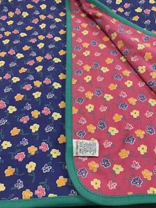 Vintage 1998 HTF Gymboree FLORAL Reversible Baby Blanket Floral