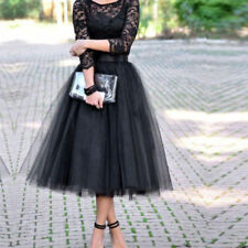 Tea Length Black Bridesmaid Wedding Evening Dress Cocktail Prom Party Dress