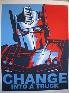 CHANGE INTO A TRUCK (TRANSFORMERS) ART TIM DOYLE SCREEN PRINT 4th EDITION S/N