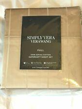 Simply Vera Wang Supima Cotton 600 thread count Full sheet set sand stripe NWT