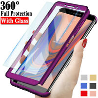 For Samsung Galaxy J4 J6 Plus J8 / J3 J5 J7 Pro Full Cover Case + Tempered Glass