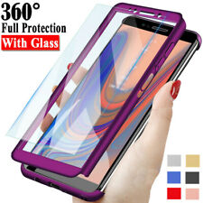 For Samsung Galaxy J4 J6 Plus J8 / J3 J5 J7 Pro Full Cover Case + Tempered Glass